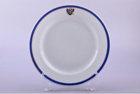 šķīvis, ar Krievijas ģerboni, porcelāns, Impērijas Porcelāna Rūpnīca, Krievijas impērija, 1910 g., Ø 23.5 cm, nošķēlums uz malas, matveida plaisa