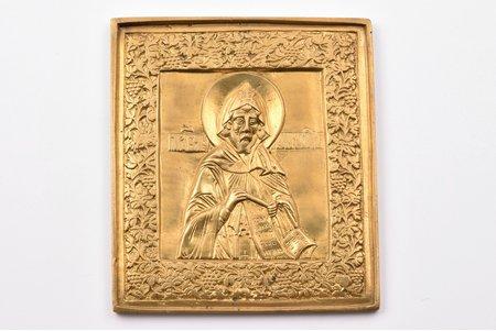 ikona, Sirdsskaidrais Nifonts, Kipras bīskaps, vara sakausējuma, zeltījums, Krievijas impērija, 19. un 20. gadsimtu robeža, 11.5 x 10.1 x 0.5 cm, 314.80 g.