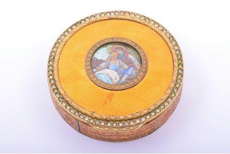 powder-box, gold plated, metal, enamel, painting, Ø 7.7 cm