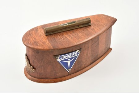 case, aviation of Aizsargi, box is made of airplane propeller, wood, Latvia, the 20-30ties of 20th cent., 12.2 x 22.8 x 9.4 cm