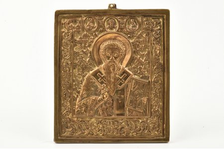 icon, Saint Martyr Antipas, copper alloy, Russia, the border of the 19th and the 20th centuries, 10.5 x 8.7 x 0.5 cm, 233.40 g., new mounts