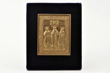 ikona, Trīs Svētītāji (Svētnieks Gregors no Nazianzas, Svētais Basilijs Lielais un Svētītājs Jānis Zeltamute), vara sakausējuma, Krievijas impērija, 19. gs., 11.8 x 9.5 x 0.5 cm, jauni stiprinājumi