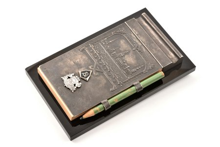 """piezīmju grāmatiņa ar zīmuli, sudrabs, 875 prove, """"Rīga"""", 20 gs. 30tie gadi, Latvija, 17.1 x 10.4 cm"""