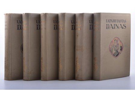 """""""Latvju tautas daiņas"""", Sējumi 1-6. Illūstrēts izdevums ar variantiem un zinātniskiem apcerējumiem, redakcija: prof. J.Endzelīns, sakopojis R. Klaustiņš, 1928-1930 g., """"Literatūra"""", Rīga, ilustrācijas uz atsevišķām lapām, 24.4 x 15.8 cm, dažas ilustrācijas izkrāsotas ar krāsaino zīmuli"""