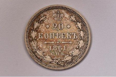 20 kopeikas, 1861 g., SPB, FB, sudrabs, Krievijas Impērija, 3.93 g, Ø 22 mm, VF
