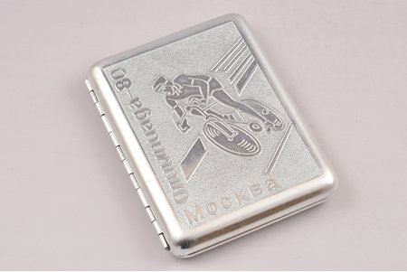 cigarette case, Olympics-80, Moscow, aluminum, USSR, 1980, 10.4 x 8.5 x 1.7 cm