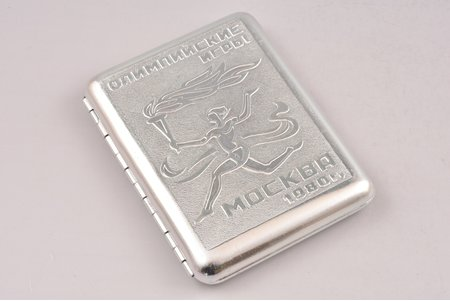 cigarette case, Olympic Games, Moscow, aluminum, USSR, 1980, 10.4 x 8.5 x 1.7 cm