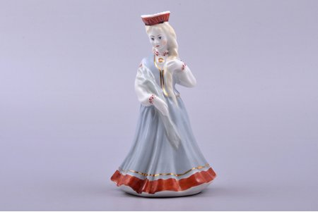 figurine, A girl in traditional costume with reed, porcelain, Riga (Latvia), USSR, Riga porcelain factory, molder - Regīna Karkunova, the 60ies of 20th cent., h 14.5 cm, first grade