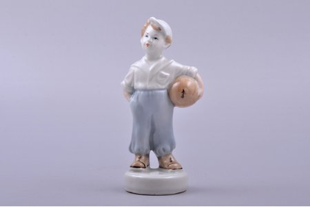 figurine, The young football player, porcelain, Riga (Latvia), USSR, Riga porcelain factory, molder - Zina Ulste, the 50ies of 20th cent., 12.2 cm, second grade