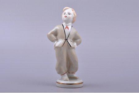 figurine, Folk dance (boy), porcelain, Riga (Latvia), Riga porcelain factory, molder - Leja Novozeneca, the 40-50ies of 20 cent., the 60-70ies of 20th cent., the 50-60ies of 20th cent., 14 cm, first grade