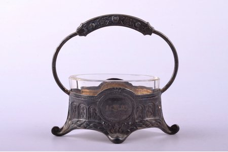 saltcellar, silver, 875 standart, gilding, with glass insert, the 20-30ties of 20th cent., silver weight 17.66g, Latvia, h 6.8 cm