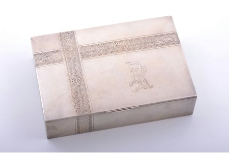 cigar-case, silver, 875 standart, engraving, gilding, the 30ties of 20th cent., 392.80 g, by Ludwig Rozentahl, Latvia, 16 x 11.1 x 4.1 cm