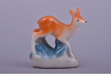 figurine, Roe, porcelain, Riga (Latvia), USSR, Riga porcelain factory, the 60ies of 20th cent., 5.3 cm, first grade