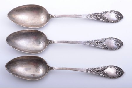 set of 3 soup spoons, silver, 875 standart, the 20-30ties of 20th cent., 231.45 g, by Wilhelm Heinrich Glasenapp, Latvia, 21.7 cm