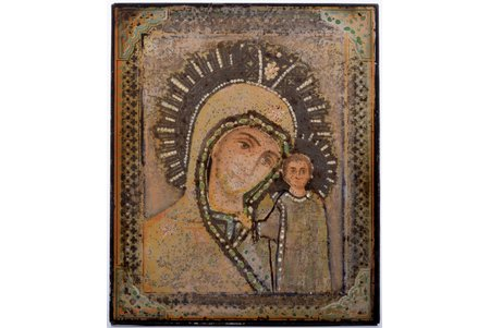 icon, Mother of God, lithography on tin, board, Latvia, 15.3 x 12.8 x 0.5 cm