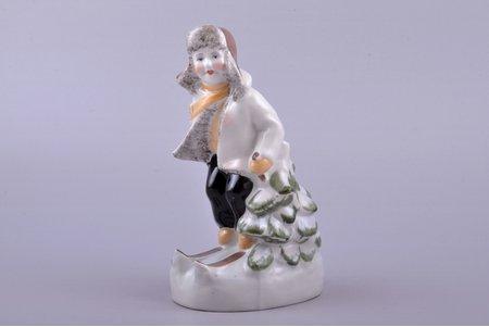 figurine, Skier, porcelain, Riga (Latvia), USSR, Riga porcelain factory, molder - S. Bolzan-Golumbovskaja, the 50ies of 20th cent., 15.7 cm, second grade