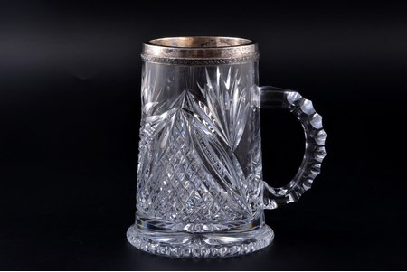 beer mug, silver, 875 standart, crystal, the 20-30ties of 20th cent., Latvia, h 14.3 cm