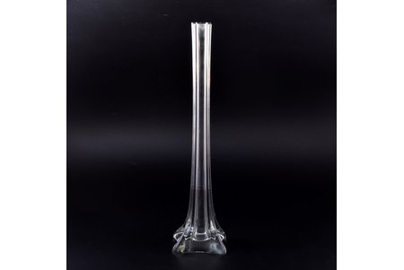 vase, Iļģuciems glass factory, Latvia, the 20-30ties of 20th cent., h 39.9 cm, insignificant micro chips on the edge