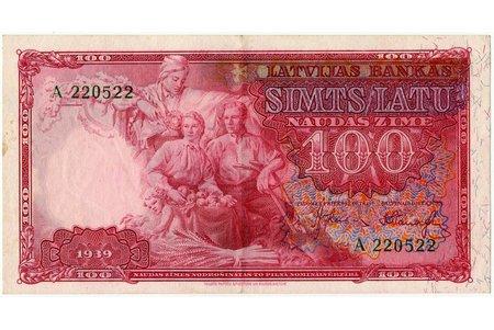 100 lats, banknote, 1939, Latvia, XF