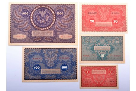 set of 5 banknotes, currency in the territory of Latvia, 1919, Poland, XF, UNC