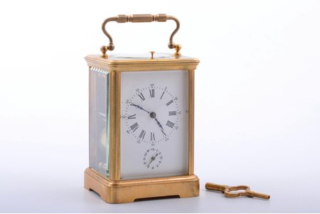 carriage clock, 17 x 9.2 x 8.1 cm, in working condition, clock is a little behind