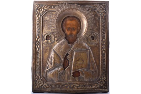 icon, Saint Nicholas the Miracle-Worker, board, painting, metal, Russia, 31.5 x 26.4 x 1.9 cm
