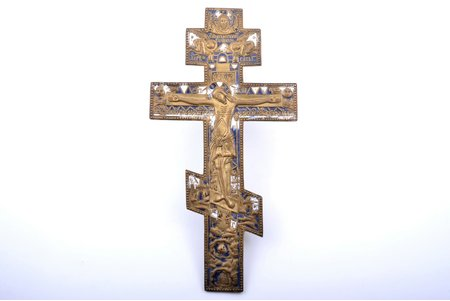 cross, The Crucifixion of Christ, copper alloy, 2-color enamel, Russia, the border of the 19th and the 20th centuries, 36.8 x 19.2 x 0.6 cm, 784.95 g., inscriptions on the back