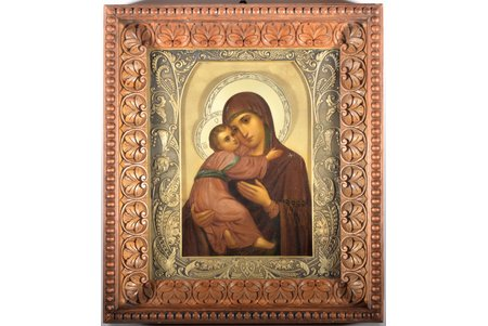 icon, Mother of God, in icon case, board, silver, painting, 84 standart, workshop of Dmitry Smirnov Lukich (Supplier to the Court of His Imperial Majesty), Russia, 1908-1917, 26.8 x 22.4 x 2.9 cm, weight of silver oklad 351 g, icon case made of oak, 35.5 x 31.1 x 8 cm, flass with facets