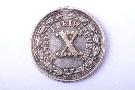 medal, 10th Annivaersary of Mitau (Jelgava) Volunteer Firefighters Society, silver, Latvia, Russia, 29.8 x 29.5 mm