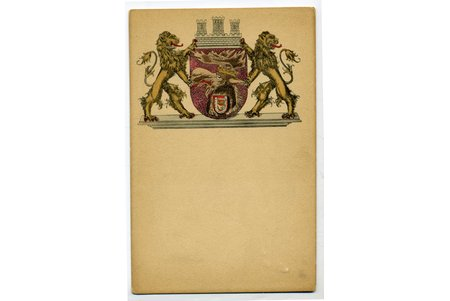 postcard, coat of arms of Jelgava city, Latvia, Russia, beginning of 20th cent., 13,8x9 cm
