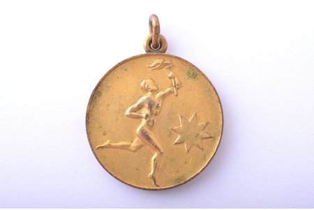 medal, Aizsargi sports competition, guilding, Latvia, 20-30ies of 20th cent., 32.5 x 28 mm