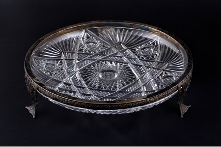 fruit dish, silver, 875 standart, crystal, the 20-30ties of 20th cent., Latvia, Ø 24.8 cm