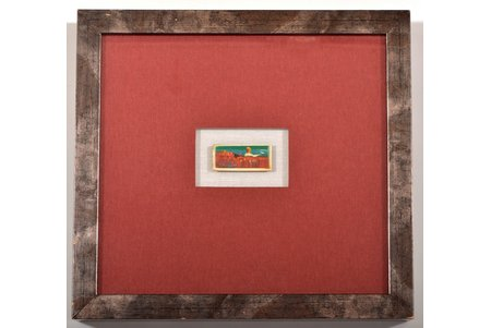 """Звирбулис Юрис (1944), миниатюра """"Маковое поле"""", 2005 г., слоновая кость, масло, 2.2 x 4.9 см"""