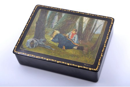 """case, """"Hunting for wood grouse"""", Mstera, by artist L. Fomichev, lacquer miniature, USSR, 23.9 x 18.1 x 6.6 cm"""