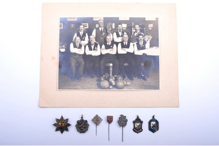 set, 6 awards and photo, Baltic German Sports Association of Āgenskalns, Latvia, photo 17.2 x 23.1 cm, one of awards with 84 silver hallmark (Russian Empire, 1880-1890-ties, Riga))