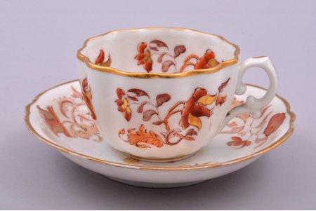 tea pair, porcelain, Kornilov Brothers manufactory, Russia, 1843-1861, h (cup) 4.9 cm, Ø (saucer) 13.4 cm