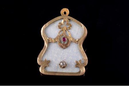 a pendant, gold, 56 standart, 12.26 g., the item's dimensions 3.9 x 2.85 cm, 1908-1917, Odessa, Russia