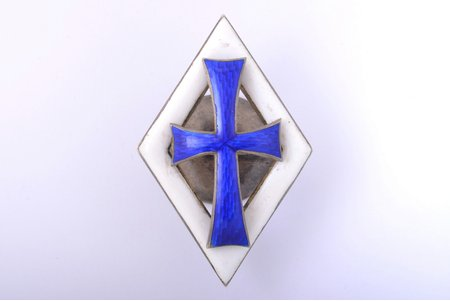badge, graduation of one of Russian Imperial Universities, silver, enamel, 84 standart, Russia, 1896-1907, 50.5 x 32.8 mm, small chip of blue enamel in the bottom corner, missing eagle