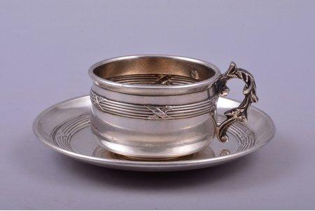 tea pair, silver, 950 standart, 36.70 g, France, h (cup) 3 cm, Ø (saucer) 8 cm