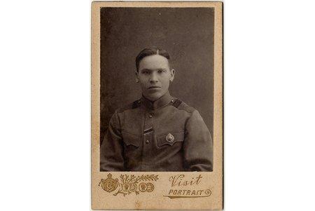photography, soldier, on cardboard, Chevalier of LSB (Latviean Riflemen Battalion), Latvia, 8.4 x 5.8 cm