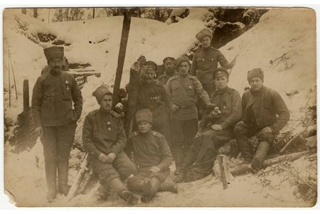 photography, group of soldiers, 4 crosses of St. George, Latvian Riflemen Battalion, Russia, 8.8 x 13.8 cm