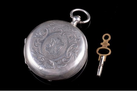 "pocket watch, ""E. Asnis"", Wenden, made to order, Russia, silver, 84, 875 standart, 76.02 g, 5.75 x 4.8 cm, 48 mm, with key"