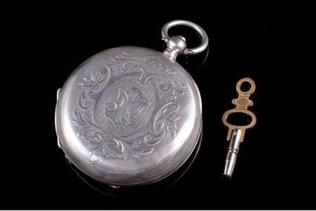 """kabatas pulkstenis, """"E. Asnis"""", Wenden, izgatavoti pēc pasūtījuma, Krievijas impērija, sudrabs, 84, 875 prove, 76.02 g, 5.75 x 4.8 cm, 48 mm, ar atslēdziņu"""