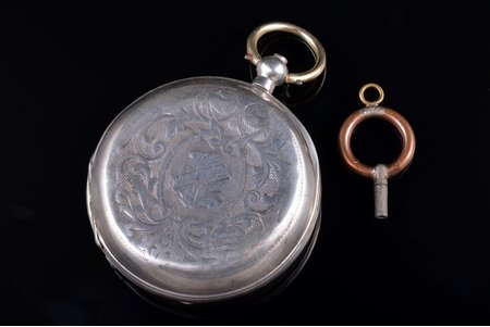 """kabatas pulkstenis, """"W. Hirschowitz"""", Jurjew (Tartu), izgatavoti pēc pasūtījuma, Krievijas impērija, sudrabs, 84, 875 prove, 82.37 g, 6 x 5.1 cm, 51 mm, ar atslēdziņu"""
