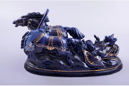 figurine, Bear in the troika, porcelain, Riga (Latvia), USSR, sculpture's work, molder - Nikolai Ivanovich Rozov, 1957, 17 x 32 x 15.7 cm, restoration of middle horse's neck, the last photo - before restoration