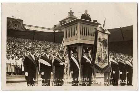 фотография, Президент А. Квиесис открывает Праздник песни в ознаменование 60-летия Праздника песни Латвии в Риге, Латвия, 1933 г., 8.9 x 13.9 см