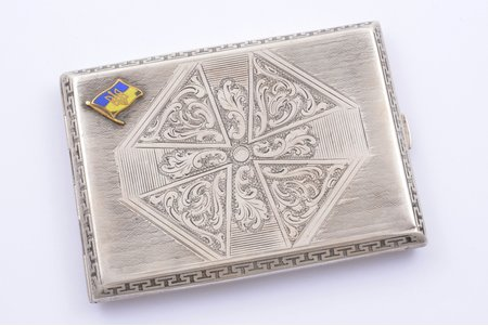 cigarette case, silver, 800 standart, with the image of the national Ukrainian flag and emblem, belonged to the fighter of Ukrainian War of Independence in 1920, enamel, engraving, the 20ties of 20th cent., Warsaw, Poland, 10.8 x 7.9 x 1.2 cm