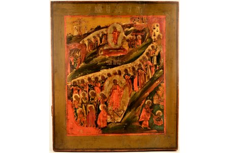 icon, The Resurrection of Christ and Descent into Hades; painted on gold, board, painting, guilding, Russia, the 19th cent., 53.8 x 45.1 x 4 cm