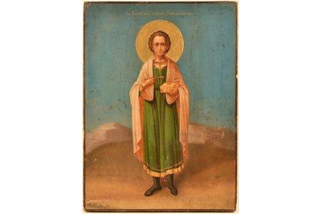 icon, Saint Panteleimon, board, painting, gold leafy, Russia, 38.8 x 28.5 x 2.4 cm, nimbus is renovated