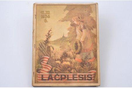 """""""Lāčplēsis"""", Nr. 6, edited by Jānis Lācis, 1938, Lāčplēša kara ordeņa kavalieru biedrības izdevums, Riga, 128, [reklāma] pages, illustrations on separate pages, 29 x 22.6 cm"""
